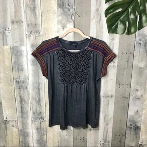 Lucky Brand Embroidered Aztec Tee